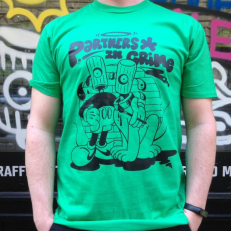 'Partners in Crime' T-shirt 'Green Black'