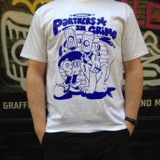 'Partners in Crime' T-shirt 'White Blue'