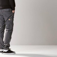 Carhartt Wip Columbia 'Blacksmith' Rinsed Slim Fit Vászonnadrág Szürke