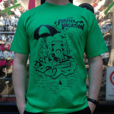 'Forever Vacation' T-shirt 'Green Black'