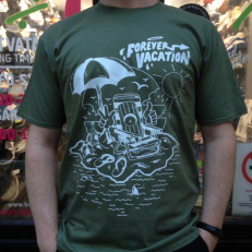 'Forever Vacation' T-shirt 'Khaki White'