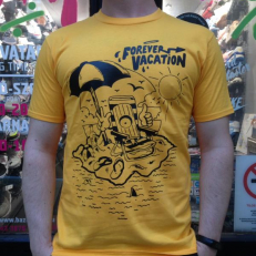 'Forever Vacation' T-shirt 'Yellow Black'