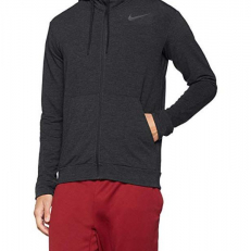 Nike Dri-Fit Full-Zip Training Hoodie - Black/ Pure/ Mettalic