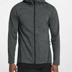 Nike Dri-Fit Long-Sleeve Full-Zip Training Hoodie - Black/ Black