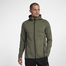 Nike Dri-Fit Long-Sleeve Full-Zip Training Hoodie - Olive Canvas/ Black