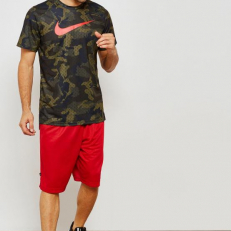 Nike Elite Dri-Fit Short-Sleeve Basketball Top - Olive Flak/ University Red