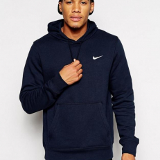 Nike M Club Swoosh Hoodie - Dark Blue/ White