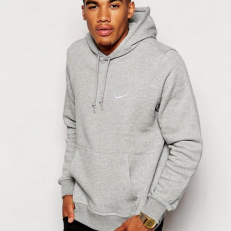 Nike M Club Swoosh Hoodie - Grey Heather/ White