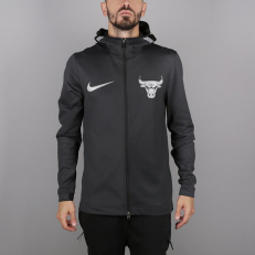 Nike NBA Chicago Bulls Therma Flex Showtime Full-Zip Hoodie - Black Pine/ Black
