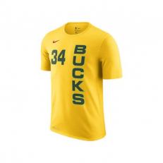 Nike NBA Milwaukee Bucks Giannis Antetokounmpo Dri-Fit T-Shirt - Yellow