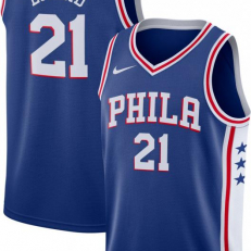 Nike NBA Philadelphia 76ers Joel Embiid Icon Edition Swingman Jersey - Rush Blue/ White/ University Red