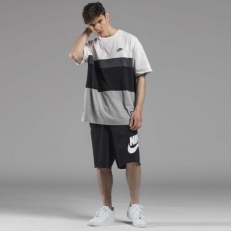 Nike Sportswear Air Top Short-Sleeve - Birch Heather/ Black/ Dark Grey Heather/ White