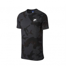 Nike Sportswear AOP Curved Hem Camo T-Shirt - Black/ Heather