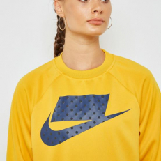 Nike Sportswear Crop Crew - Yellow Ochre/ Midnight Navy