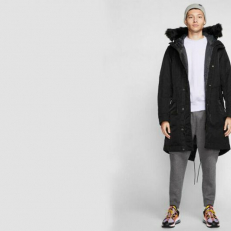 Nike Sportswear Down-Fill Hooded Parka - Black/ Anthracite/ Dark Grey
