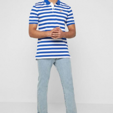 Nike Sportswear HE Striped Polo PQ Script - Indigo Force/ White