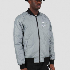 Nike Sportswear Swoosh Woven Bomber Jacket - Black/ Particle Grey/ White