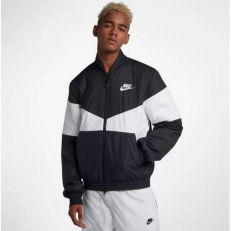 Nike Sportswear Synthetic-Fill Graphic Bomber Jacket - Black/ White
