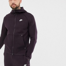 Nike Sportswear Tech Fleece Full-Zip Through Hoodie - Burgundy