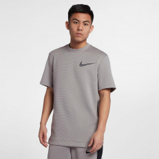 Nike Therma Flex Showtime Short-Sleeve Crew Top - Grey/ Black
