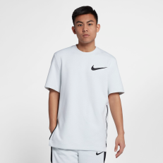 Nike Therma Flex Showtime Short-Sleeve Crew Top - White/ Pure-Platinum/ White