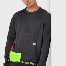 Nike Therma Long-Sleeve Training Top - Black Heather/ Black/ Electric Green/ Pale Ivory
