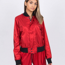 NikeLab W NRG Satin Bomber Jacket Gym Red